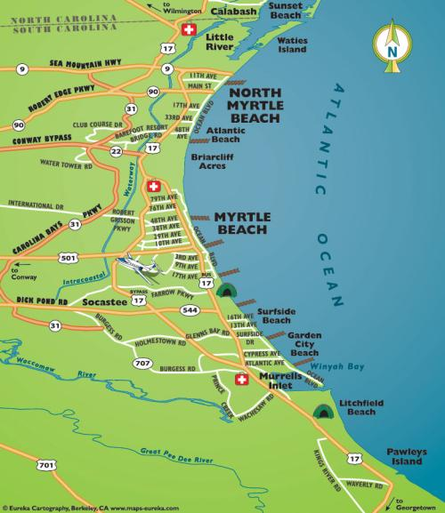 Road Map Of Myrtle Beach Grand Strand South Carolina Area
