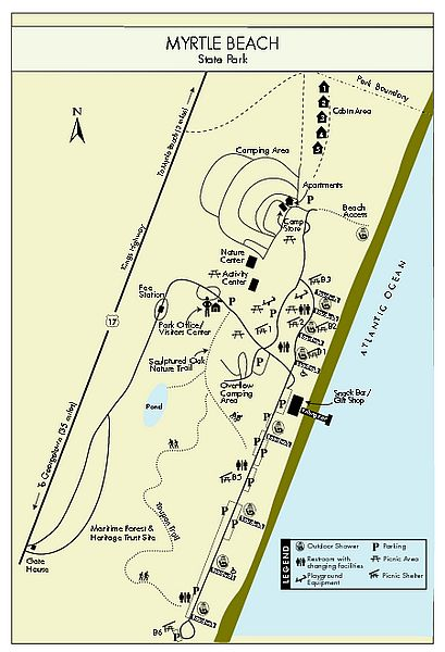 PDF Map of Myrtle Beach State Park along SC Grand Strand